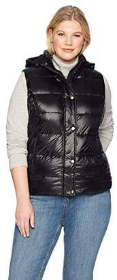 The Plus Project Women's Plus Size Quilted Puffer Down Vest with Hood 4X-Large