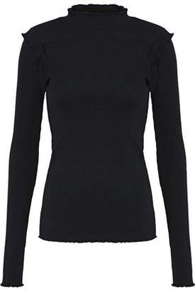 Current/Elliott Ruffle-Trimmed Cotton Ribbed-Knit Turtleneck Top