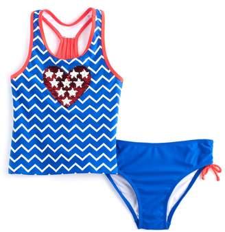 So Girls 4-16 SO Stars & Chevron Flip Sequins Tankini Top & Bottoms Swimsuit Set