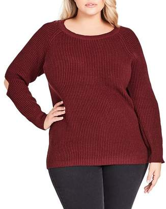 City Chic Plus Elbow Kisses Sweater