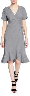 Neiman Marcus Gingham Short-Sleeve Wrap Flounce Dress