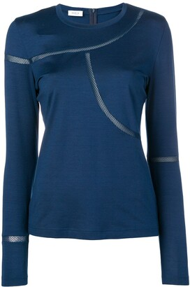 Akris Punto fitted T-shirt with net detailing