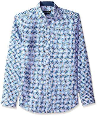 Bugatchi Men's Modern Print Fitted Long Sleeve Spread Collar Shirt