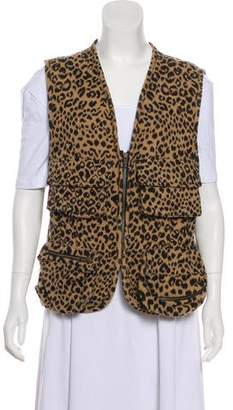 Sonia Rykiel Animal Print Zip-Up Vest