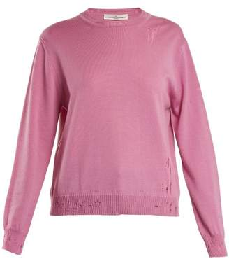 Golden Goose Pyxis Distressed Finish Lightweight Knit Sweater - Womens - Pink
