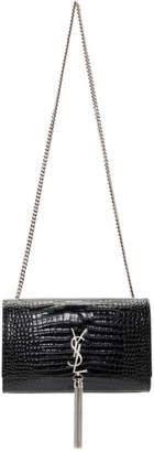 Saint Laurent Black Croc Medium Kate Tassel Bag