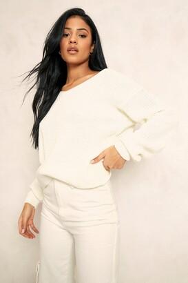 boohoo Tall Crop Twist Back Sweater