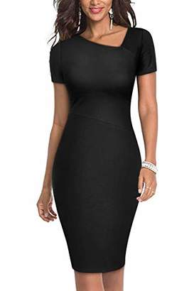Moyabo Women Plus Size Dresses Short Sleeve Slim Fit Business Bodycon Pencil Dress