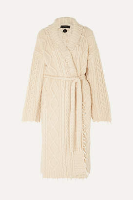 Alanui Lapponia Fringed Cable-knit Cashmere And Wool-blend Cardigan - Cream