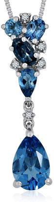 FINE JEWELRY Genuine London and Swiss Blue Topaz with Diamond Accent Sterling Silver Pendant