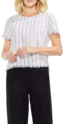 Vince Camuto Frayed Pinstripe Top