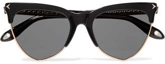 Givenchy Cat-eye Acetate And Rose Gold-tone Sunglasses - Black