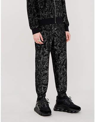 Versace Metallic baroque-patterned velour jogging bottoms