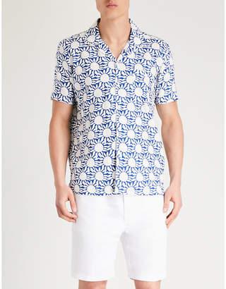AFIELD Sunflower-print regular-fit linen shirt