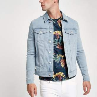 River Island Mens Light blue wash muscle fit denim jacket