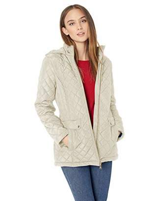 Tommy Hilfiger Women's Diamond Quilted Jacket with Covered Placket and Hood