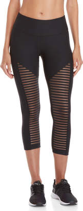 90 Degree By Reflex High-Waisted Mesh Stripe Capri Leggings