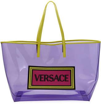 Versace 90s Logo Clear Vinyl Tote Bag