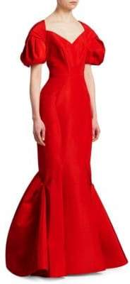 Zac Posen Puff Sleeve Silk Mermaid Gown