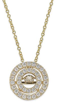 Twinkling Diamond Star Diamond Double Circle Pendant Necklace in 14k White or Yellow Gold (3/8 ct. t.w.)
