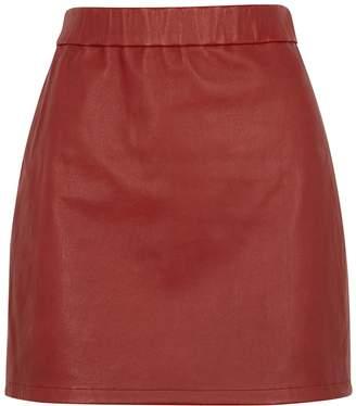 Helmut Lang Red Leather Mini Skirt