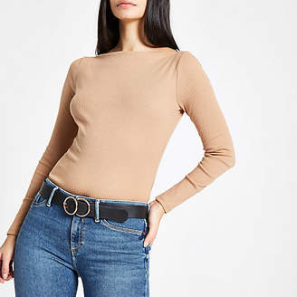 River Island Camel ribbed boat neck long sleeve top