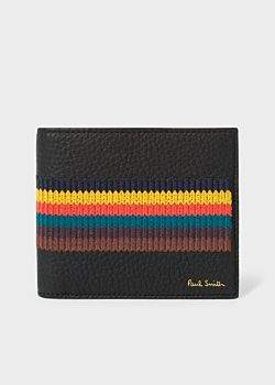 Paul Smith Men's Black Grained Leather Billfold Wallet With 'Bright Stripe' Embroidery
