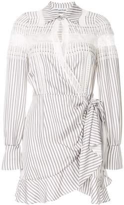 Self-Portrait lace insert striped shirt dress