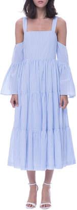 Endless Rose Striped Cotton Cold-Shoulder Midi Dress