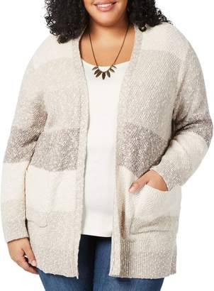 Style&Co. Style & Co. Plus Colourblocked Open-Front Cardigan