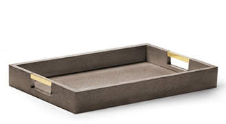AERIN Chocolate Faux-Shagreen Desk Tray