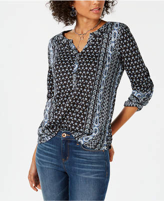 Style&Co. Style & Co Printed Roll-Tab Sleeve Top