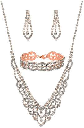 Jon Richard Jewellery Rose Gold Crystal Diamante Jewellery Set