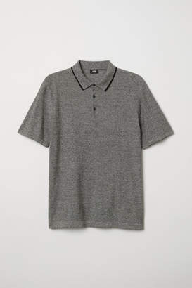 H&M Fine-knit Polo Shirt - Gray
