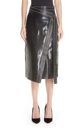 Alexander McQueen Snake Embossed Leather Wrap Skirt