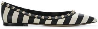 Valentino Rockstud striped ballerinas