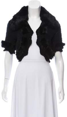 Christian Dior Wool Fur-Trimmed Shrug Black Wool Fur-Trimmed Shrug