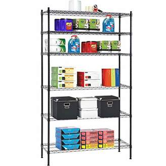 NSF BestOffice 6 Tier Wire Shelving Unit Heavy Duty Metal Organizer Height Adjustable Utility Rolling Steel Commercial Grade Layer Rack for Kitchen Bathroom Office