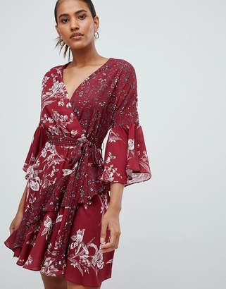 French Connection Frill Mini Wrap Dress