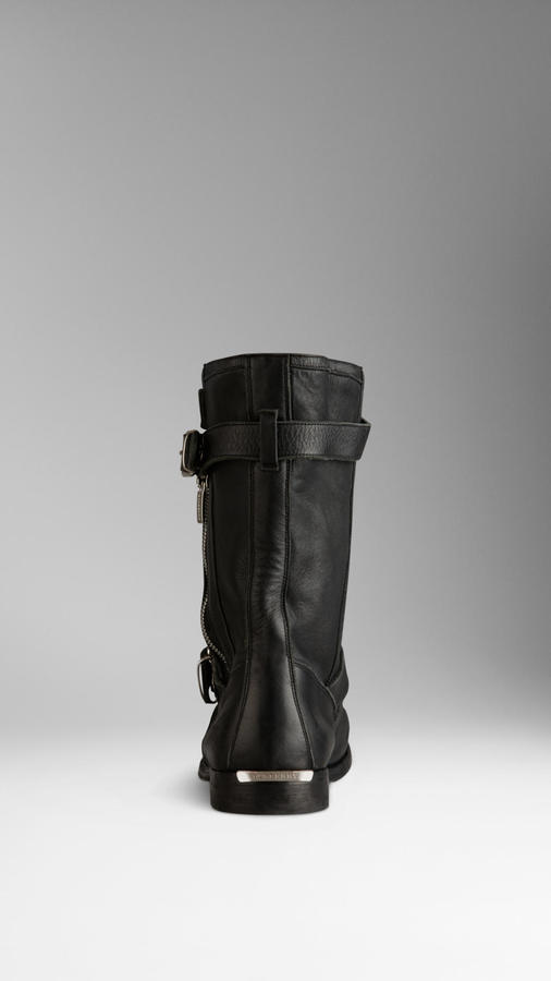 Burberry Belted Leather Ankle Boots