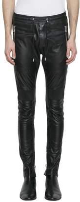 Balmain Black Stretch Leather Biker Trousers