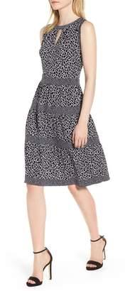 MICHAEL Michael Kors Sleeveless Leopard Border Fit & Flare Dress