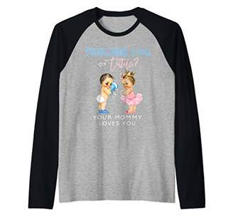 Mommy Gender Reveal Shirt Touchdown or Tutu Baby Shower Mama Raglan Baseball Tee