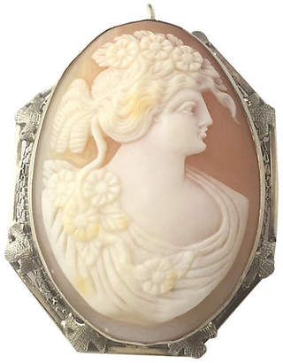 One Kings Lane Vintage Shell Cameo of Woman in Gold Brooch - Owl's Roost Antiques