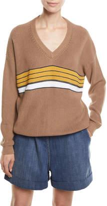 Brunello Cucinelli Monili-Striped V-Neck Ribbed Sweater