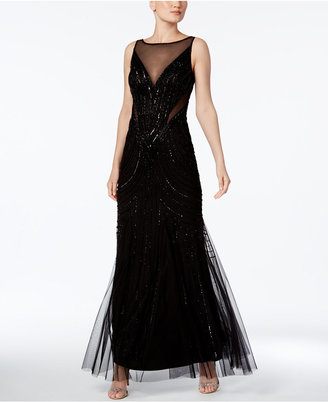Adrianna Papell Illusion Embellished A-Line Gown $329 thestylecure.com
