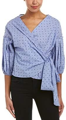 Max Studio Women's Long Sleeve Bubble Hem Cotton Shirting