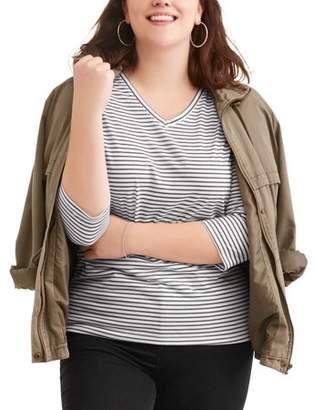 Generic Women's Plus Easy 3/4 Sleeve V-Neck Side Shirred T-Shirt