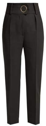 Petar Petrov Hanne High Waisted Wool Trousers - Womens - Black Multi