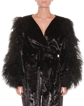 ATTICO Velvet Cropped Wrap Top w/ Ostrich Feathers